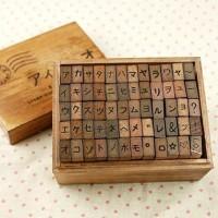 Antique Style Japanese Language KATAKANA Wooden by WonderlandRoom
