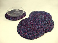 Rope International set of six colourful grass placemats Blue and Red - Craftsia - Indian Handmade Products & Gifts