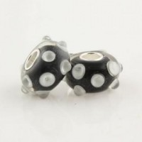 Pandora Murano Black Dots Shine Glass Beads