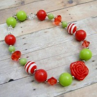 Red and Lime Green Christmas Chunky Necklace by TheBaerEssentials