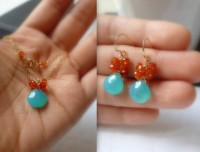 Aqua Blue Chalcedony Carnelian Cluster Earrings by bijouxbydesif