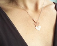 Heart Necklace Three Small Copper Hearts on Silver by CStarStudio