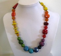 Kazuri Beaded Necklace Rainbow Colors Semi by lizbriggsdesigns