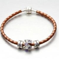 Pandora Amethyst Hearts Charms Brown Leather Charms Bracelets/Necklaces
