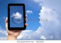 Hand Holding Tablet Pc With Cloud Background Stock Photo 79131541 : Shutterstock