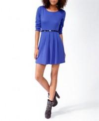 Pleated Skater Dress w/ Belt | FOREVER21 - 2021839962