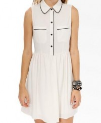 Coated Trimmed Shirtdress | FOREVER21 - 2021840974