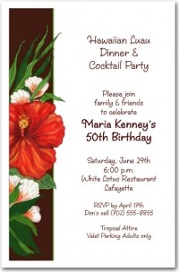 Red Hibiscus Invitation, Luau Invitations | AnnouncingIt.Com