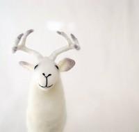 White Torsten Felt Deer Art Puppet Marionette by TwoSadDonkeys