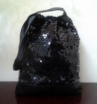 Hand made-Sequins and black leather shoulder bag - Craftsia - Indian Handmade Products & Gifts