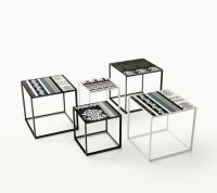 Contemporary garden nesting tables - CANASTA TABLES AND LOW TABLES by Patricia Urquiola - B&B Italia