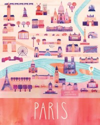 Illustrated Paris Map 16 x 20 Digital Print by marisamidori