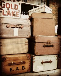 Vintage Suitcases Photograph Muted Tones by VictoriaEnglishCharm