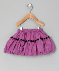 Amethyst & Black Pom-Pom Bubble Skirt - Toddler & Girls | Daily deals for moms, babies and kids