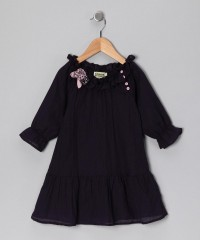 Midnight & Pink Rosette Peasant Dress - Infant, Toddler & Girls | Daily deals for moms, babies and kids