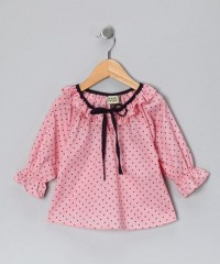 Blush Pink & Black Polka Dot Peasant Top - Infant, Toddler & Girl | Daily deals for moms, babies and kids