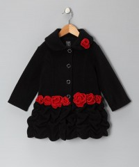 Black & Red Rose Fleece Ruffle Coat - Infant, Toddler & Girls | Daily deals for moms, babies and kids