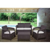 International Home Miami Atlantic Java 4 Piece Conversation Set | Wayfair