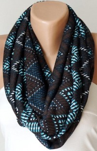 Infinity Scarf Loop Scarf Circle Scarf Cowl Scarf Brown by Periay