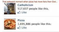 When pizza has more Facebook fans than God - SunnyLOL