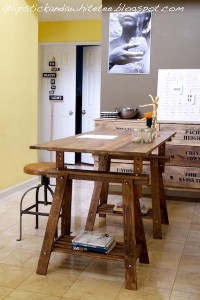 LIPSTICK AND A WHITE TEE: DIY Rustic Desk with Stained IKEA Legs