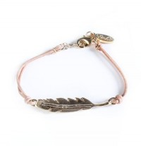 Feather Charm Leather Bracelet - Smykker