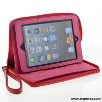 Wholesale Handbag Style Folio Leather Case For iPad Mini - Red [856] On WsPrices.com