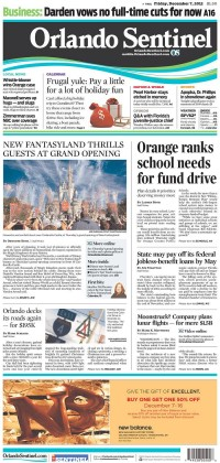 Newseum   Today's Front Pages   Orlando Sentinel