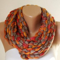 Orange RedGreyInfinity ScarfLoop ScarfCircle ScarfRed by Periay