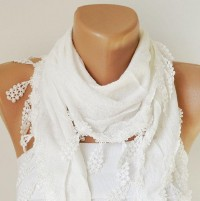 White Scarf Lace Scarf Woman Scarf Fashion Scarf Bunch by Periay