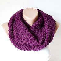 Infinity Scarf Loop Scarf Circle Scarf Winter Cowl Plum by Periay