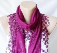 Purple Scarf Lace ScarfCotton ScarfWomen Fashion by Periay on Etsy