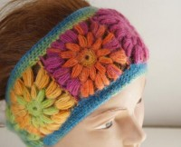 Rainbow Headband Winter Headband Colorful band Mohair by Periay
