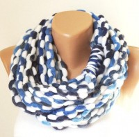 Denim Blue Infinity scarf Cowl necklace winter by Periay on Etsy