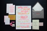 Neon Hand Lettering Letterpress Poster Wedding Invitations | Oh So Beautiful Paper