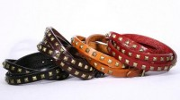 Leather Wrap Bracelet with Pyramid Studs Bronze Color by zzbuffalo
