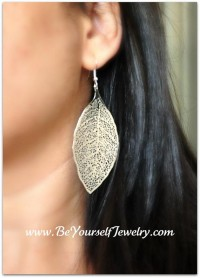 Leaf Earrings Boho Style Filigree Earrings by BeYourselfJewelry
