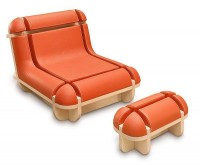 Quand Jim Se Relaxe Chair Footrest Domeau & Peres Quand Jim Se Relaxe Chair & Footrest Design by Matali Crasset