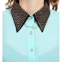 Mint Studded Contrast Collar Top - Polyvore