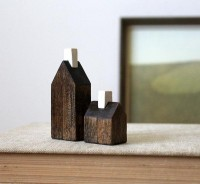 miniature houses solid wood walnut stained by TheHauntedHollowTree