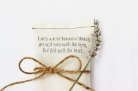 Cream Lavender Sachet Love Quote Wedding Favor by Gardenmis