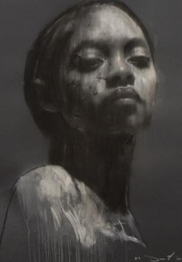 Ciprana large head study 1, pastel & collage, 32ins x 44ins. | Mark Demsteader | mark demsteader