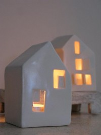Love Houses Modern ceramic candle holders by SimoneCeramics