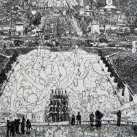 Doodle Drawings That Form Classic Works of Art, Statues & Monuments