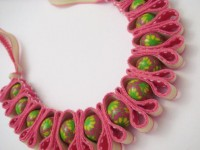 Lime Green and Pink Polymer Clay Bead Ribbon by GardenOfBeaden2010