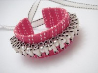 Pink and White Ribbon and Pearl Cuff by GardenOfBeaden2010 on Etsy
