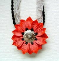 Red Flower Pendant hand sculpted polymer clay by ZudaGay on Etsy