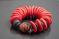 Red Bracelet One Of A Kind Polymer Clay Elastic by JagnaB