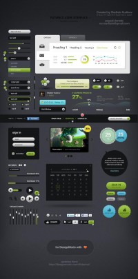 Futurico UI Free User Interface Elements Pack, Free PSD by Vladimir Kudinov