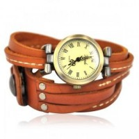 Light Brown Leather Wrap Retro Watch just $28.90 only in ByGoods.com
